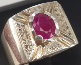 Natural Ruby and Diamonds Ring.