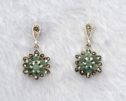 Antique Style Emerald Silver Earrings