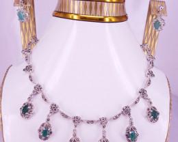 Antique Style Natural Emerald Set