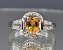 Natural Citrine, CZ and 925 Silver Ring