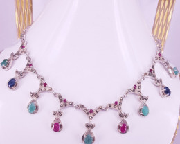 Natural Emerald Sapphire and Ruby Necklace