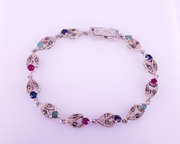 Antique Style Natural Emerald Sapphire And Ruby Bracelet