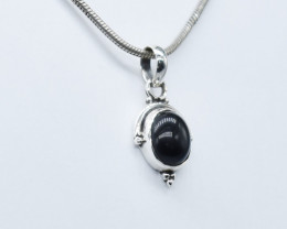 BLACK ONYX PENDANT 925 STERLING SILVER NATURAL GEMSTONE JP201