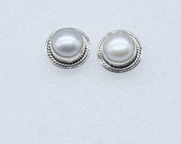 PEARL EARRINGS 925 STERLING SILVER NATURAL GEMSTONE JE180