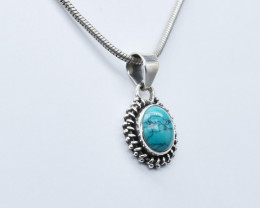 TURQUOISE PENDANT 925 STERLING SILVER NATURAL GEMSTONE JP202