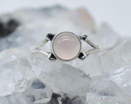 ROSE QUARTZ RING 925 STERLING SILVER NATURAL GEMSTONE JR1032