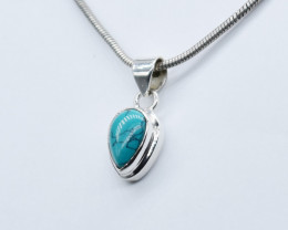 TURQUOISE PENDANT 925 STERLING SILVER NATURAL GEMSTONE JP205