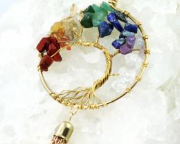 Colourful 7 chakra Gemstones, Handmade Tree Of life CCC 1021