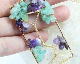 Amethyst & Aventurine Handmade gold wire wrap Tree Of life Pendant CCC 1026