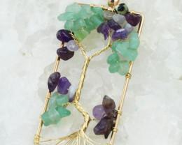 Amethyst & Aventurine Handmade gold wire wrap Tree Of life Pendant CCC 1025