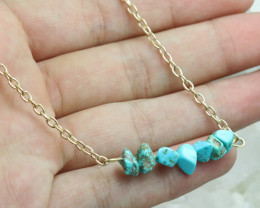 Turquoise Handmade gold wire wrap Pendant CCC 1037