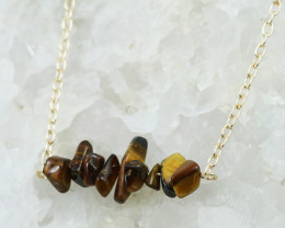 Tiger Eye Handmade gold wire wrap Pendant CCC 1048
