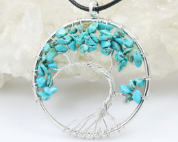 Turquoise Handmade black wire wrap Tree Of Life Pendant CCC 1063
