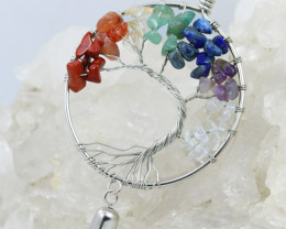 Colourful 7 chakra Gemstones, Handmade Tree Of life Pendant CCC 1077