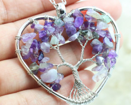 Amethyst Handmade silver wire wrap Tree Of Life Pendant CCC 1082