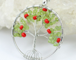 Peridot Bead Handmade silver wire wrap Tree Of Life Pendant CCC 1086
