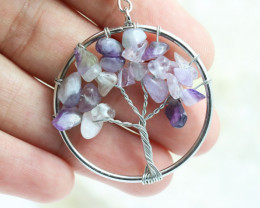 Amethyst Handmade Silver Tree Of Life Earring CCC 1091