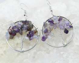 Amethyst Handmade Silver Tree Of Life Earring CCC 1092
