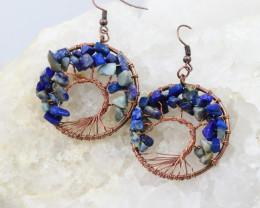 Lapis Lazuli Handmade Copper Tree Of Life Earring CCC 1099
