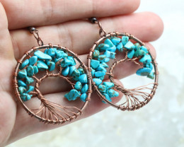Turquoise Handmade Copper Tree Of Life Earring CCC 1110