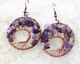 Amethyst Handmade Copper Tree Of Life Earring CCC 1117