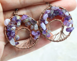 Amethyst Handmade Tree Of Life Copper Earring CCC 1118