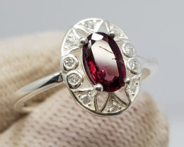Natural Purple Rhodolite Garnet 10.00 Carats 925 Silver Ring