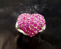 Natural Beautiful Heart Shape Ruby Ring