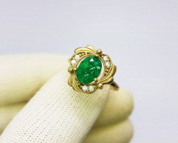 Green Emerald Yellow Copper Ring 925 Sterling Silver