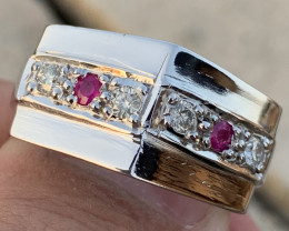 Natural Ruby and Diamonds Ring TCW 0.40