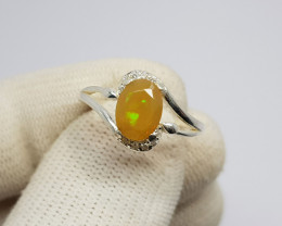 Welo Precious Fire Opal 925 Sterling Silver Ring