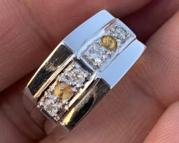 Natural Diamonds and Yellow sapphire Ring.