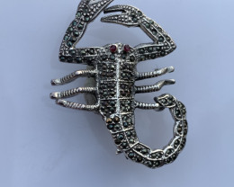 Antique Style Natural scorpion Ruby Brooch.