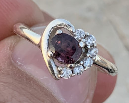 Heart design Natural Spinel Ring with CZ.