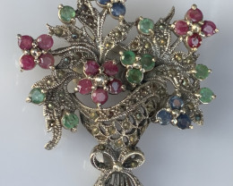 Natural Ruby Emerald and Sapphire Brooch.