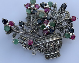 Natural Emerald Ruby and sapphire Brooch.