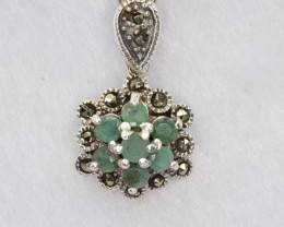 Antique Style Multi Stone and Silver Pendant