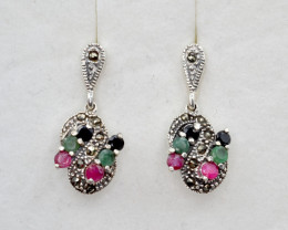 Antique Style Multi Stone and Silver Earrings