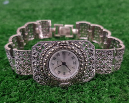 Natural Marcasite And 925 fine Silver Watch