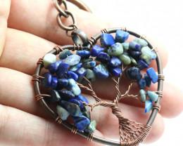 Lapis Lazuli handmade copper wrap Tree of life Key ring CCC 1130