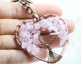 Rose Quartz handmade copper wrap Tree of life Key ring CCC 1134