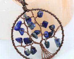 Lapis Lazuli handmade copper wrap Tree of Life Pendant CCC 1146