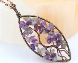 Amethyst handmade copper wrap Tree of Life Pendant CCC 1168