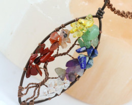 7 chakra Gemstones, Handmade Copper Tree Of life Pendant CCC 1192