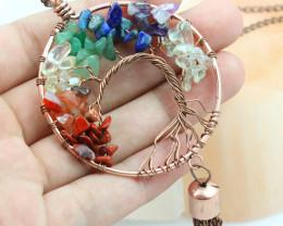 7 chakra Gemstones, Handmade Copper Tree Of life Pendant CCC 1194