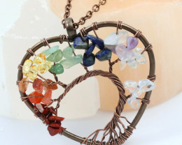 6 Multi Gemstones, Handmade copper wire wrap Tree Of life Pendant CCC 1203