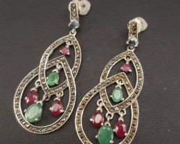 Antique Design Natural Emerald And Ruby Earrings