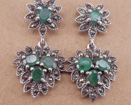 Antique Style Natural Emerald Earrings.