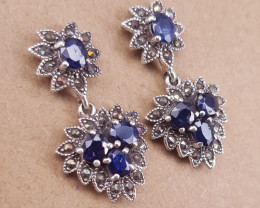 Antique style Natural Sapphire Earrings