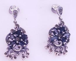 Antique Design Sapphire Earrings